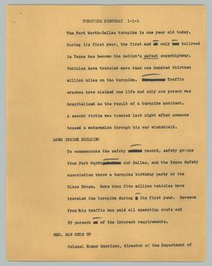 Primary view of object titled '[News Script: Turnpike Birthday]'.