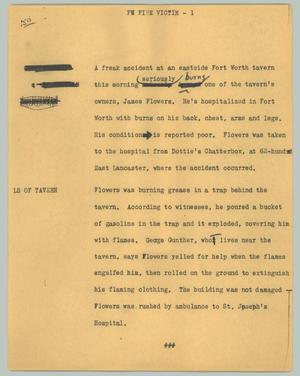 Primary view of object titled '[News Script: FW fire victim]'.
