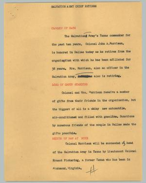 Primary view of object titled '[News Script: Salvation Army chief retires]'.