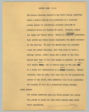 Primary view of object titled '[News Script: Zoning case]'.