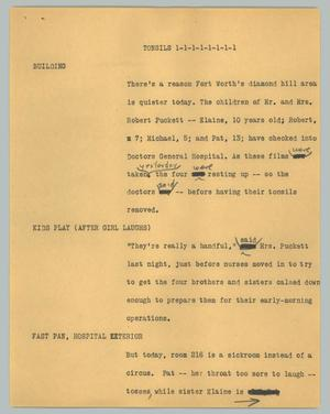 Primary view of object titled '[News Script: Tonsils]'.