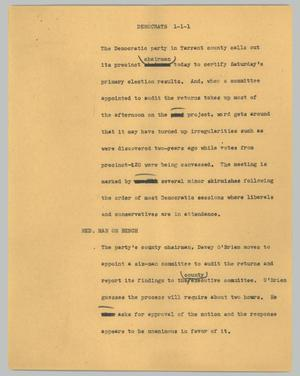 Primary view of object titled '[News Script: Democrats]'.