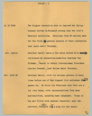 Primary view of object titled '[News Script: Rotary]'.