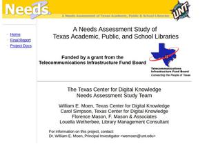 Primary view of object titled 'A Needs Assessment Study of Texas Academic, Public, and School Libraries'.