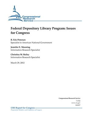 Federal Depository Library Program: Issues for Congress