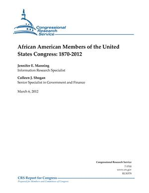 African American Members of the United States Congress: 1870-2012