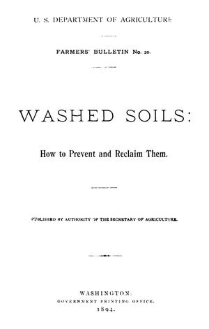 Primary view of object titled 'Washed Soils: How to Prevent and Reclaim Them.'.
