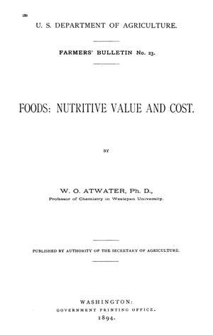 Primary view of object titled 'Foods: Nutritive Value and Cost'.
