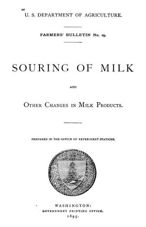 Primary view of object titled 'Souring of Milk and Other Changes in Milk Products'.