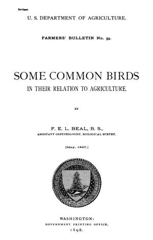 Primary view of Some Common Birds in Their Relation to Agriculture