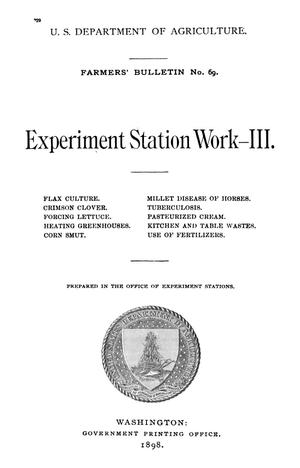 Primary view of object titled 'Experiment Station Work, [Volume] 3'.
