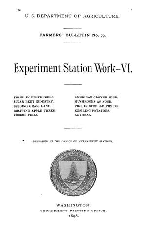 Primary view of object titled 'Experiment Station Work, [Volume] 6'.