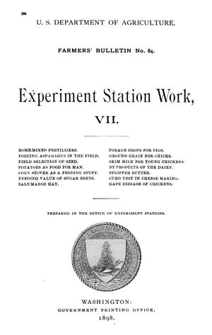 Primary view of object titled 'Experiment Station Work, [Volume] 7'.