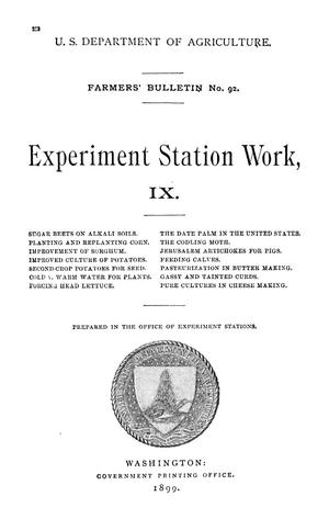 Primary view of object titled 'Experiment Station Work, [Volume] 9'.
