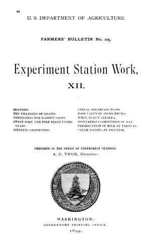 Primary view of object titled 'Experiment Station Work, [Volume] 12'.