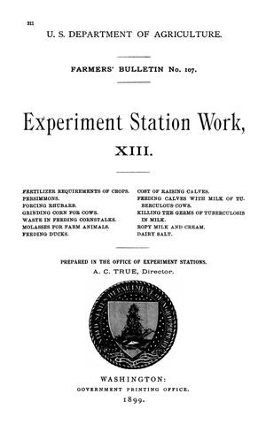 Primary view of Experiment Station Work, [Volume] 13