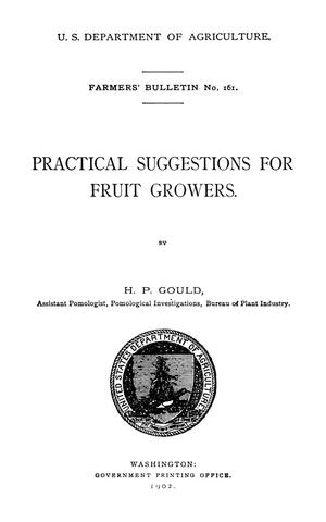 Primary view of object titled 'Practical Suggestions for Fruit Growers'.