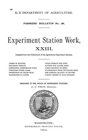 Primary view of object titled 'Experiment Station Work, [Volume] 23'.