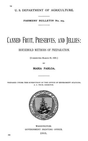 Primary view of Canned Fruit, Preserves, and Jellies: Household Methods of Preparation