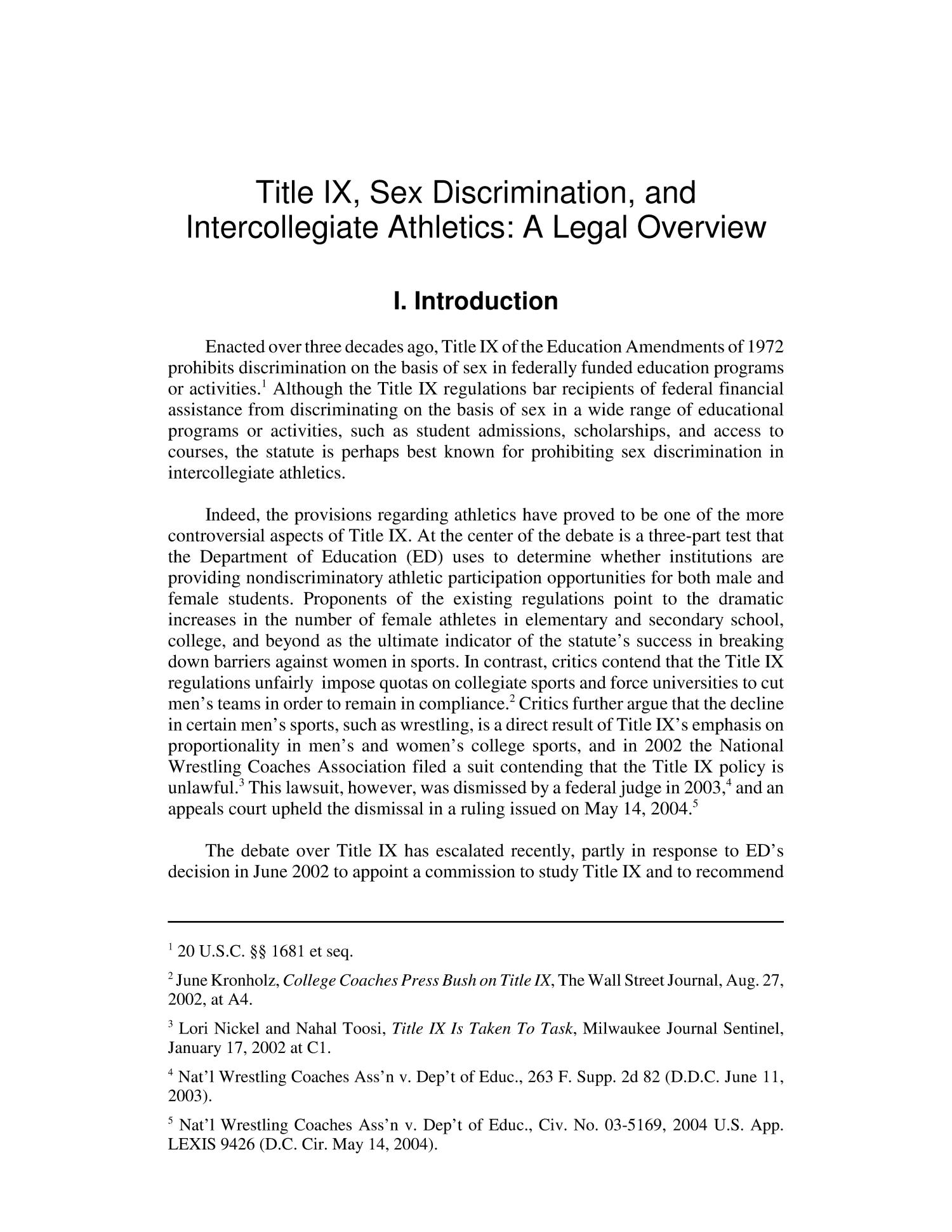 Title IX, Sex Discrimination, and Intercollegiate Athletics: A Legal Overview                                                                                                      [Sequence #]: 4 of 20