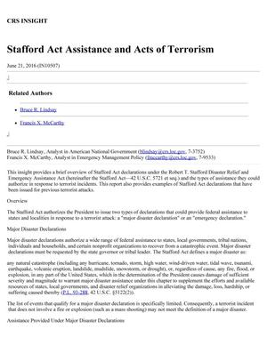 Primary view of object titled 'Stafford Act Assistance and Acts of Terrorism'.