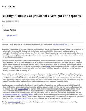 Primary view of object titled 'Midnight Rules: Congressional Oversight and Options'.