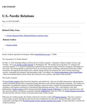 Primary view of object titled 'U.S.-Nordic Relations'.