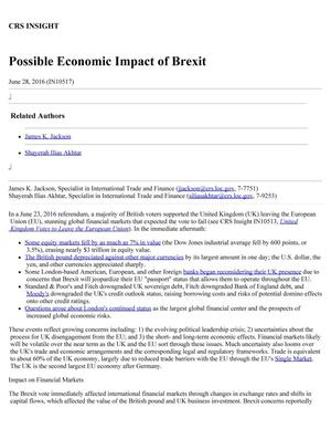 Primary view of object titled 'Possible Economic Impact of Brexit'.