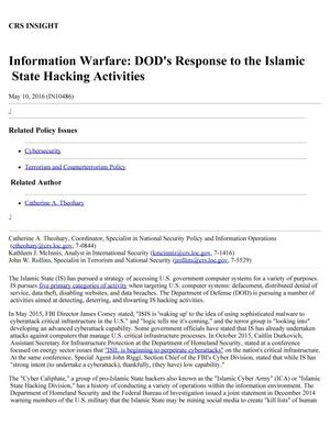 Primary view of object titled 'Information Warfare: DOD's Response to the Islamic State Hacking Activities'.