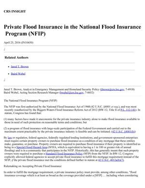 Primary view of object titled 'Private Flood Insurance in the National Flood Insurance Program (NFIP)'.