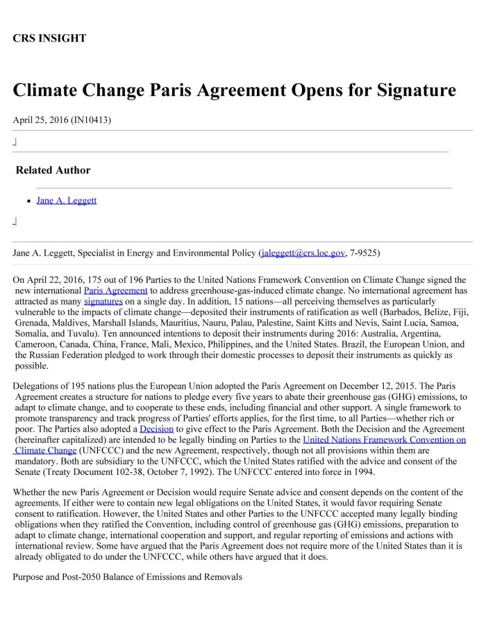 Climate Change Paris Agreement Opens For Signature Digital Library