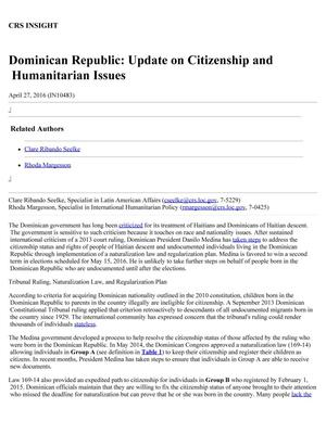 Primary view of object titled 'Dominican Republic: Update on Citizenship and Humanitarian Issues'.