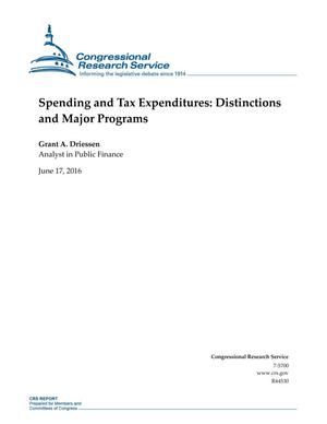 Primary view of object titled 'Spending and Tax Expenditures: Distinctions and Major Programs'.