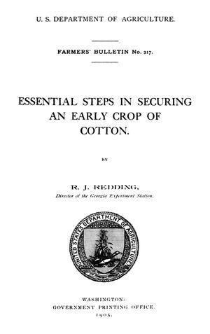 Primary view of object titled 'Essential Steps in Securing an Early Crop of Cotton'.