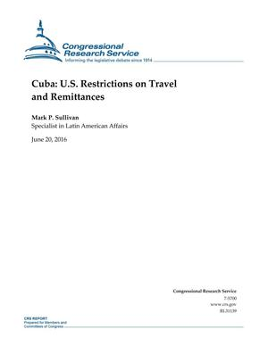 Primary view of object titled 'Cuba: U.S. Restrictions on Travel and Remittances'.