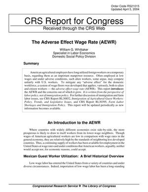 Primary view of object titled 'The Adverse Effect Wage Rate (AEWR)'.
