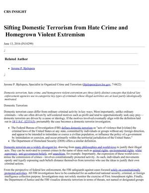 Primary view of object titled 'Sifting Domestic Terrorism from Hate Crime and Homegrown Violent Extremism'.