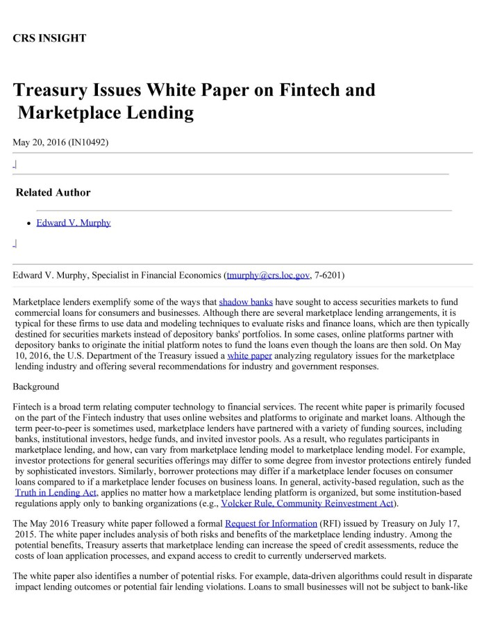 Treasury Issues White Paper On Fintech And Marketplace Lending