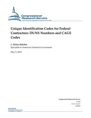 Primary view of object titled 'Unique Identification Codes for Federal Contractors: DUNS Numbers and CAGE Codes'.