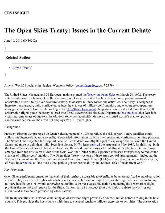 The Open Skies Treaty Issues In The Current Debate Unt Digital Library