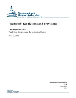 "Primary view of object titled '""Sense of"" Resolutions and Provisions'."
