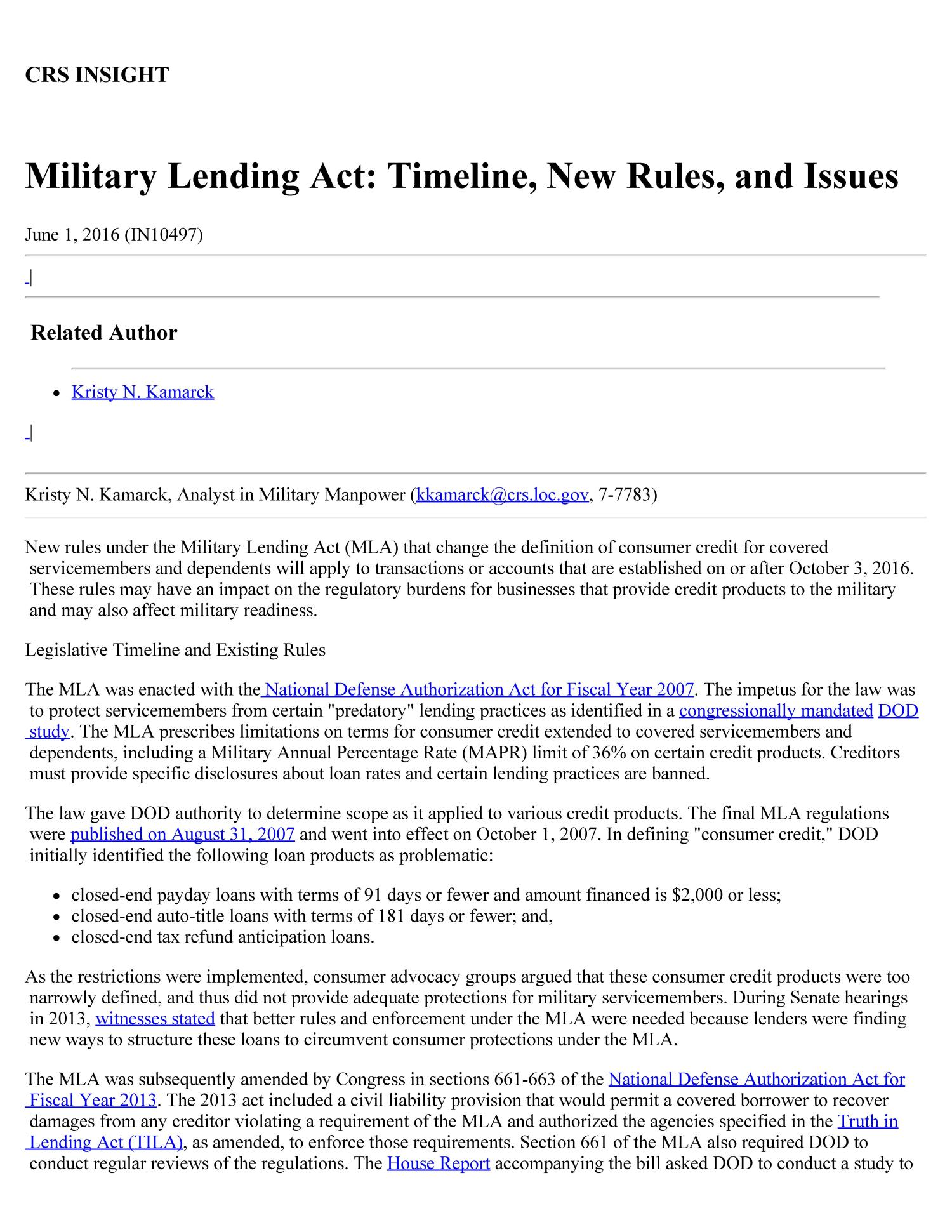 military lending act timeline new rules and issues digital library