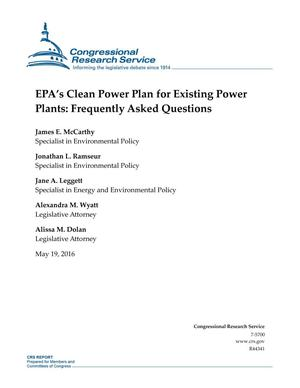 Primary view of object titled 'EPA's Clean Power Plan for Existing Power Plants: Frequently Asked Questions'.