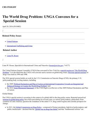 Primary view of object titled 'The World Drug Problem: UNGA Convenes for a Special Session'.