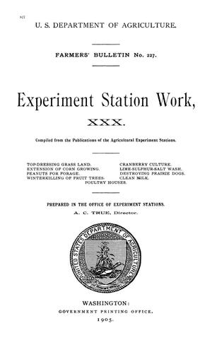 Primary view of object titled 'Experiment Station Work, [Volume] 30'.