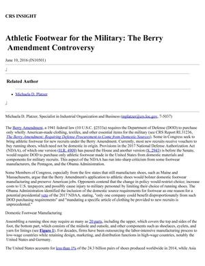 Primary view of object titled 'Athletic Footwear for the Military: The Berry Amendment Controversy'.