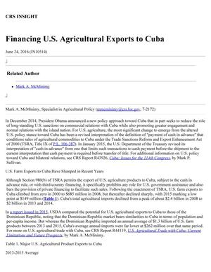Primary view of object titled 'Financing U.S. Agricultural Exports to Cuba'.