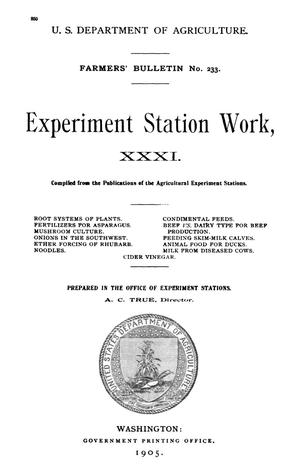 Primary view of object titled 'Experiment Station Work, [Volume] 31'.