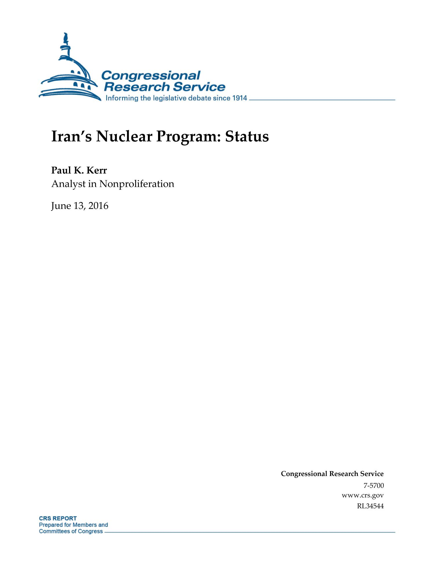 Iran's Nuclear Program: Status                                                                                                      [Sequence #]: 1 of 62