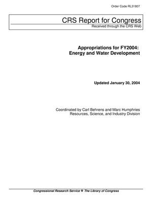 Primary view of object titled 'Appropriations for FY2004: Energy and Water Development'.
